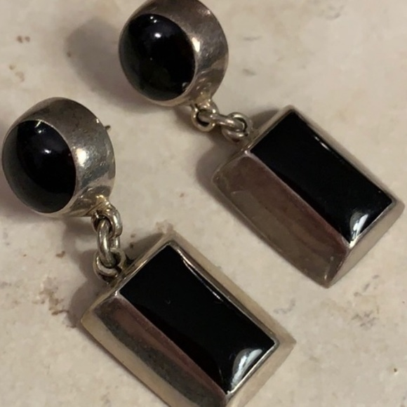 Jewelry - Vintage Sterling 925 Mexico Onyx Earrings 🌟⭐️